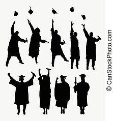 graduazione, silhouette
