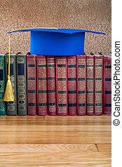 graduazione, sparviere, cima, pila libri, su, astratto,...