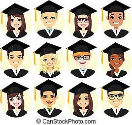 graduazione, studente, collezione, avatar