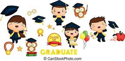 graduazione, vettore, set