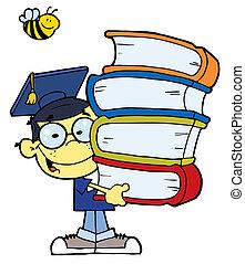graduere, glade, dreng, asiat, skole