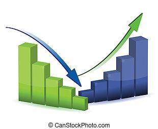 graf, diagram, kartlägga, affär