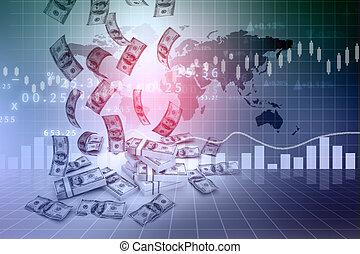 graf, dolar, finance, déšť
