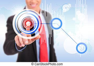 graf, pressande, man, ansökan, cirkel, knapp