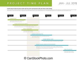 graf, tid, projekt, vektor, plan, gantt