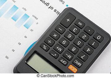 grafer, räknemaskin, finansiell, topplista, analys