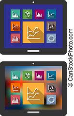 graferne, computer, kort, tablet