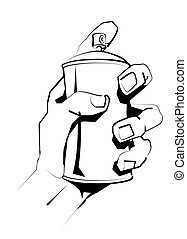 graff spray can - Black and white illustration of hand...