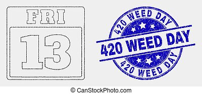 graffiato, 13, watermark, venerdì, erbaccia, vettore, 420, ...
