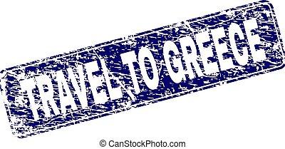 graffiato, arrotondato, francobollo, viaggiare, incorniciato, grecia, rettangolo