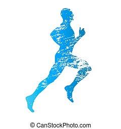 graffiato, correndo, vettore, silhouette, uomo