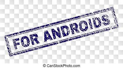 graffiato, francobollo, androids, rettangolo