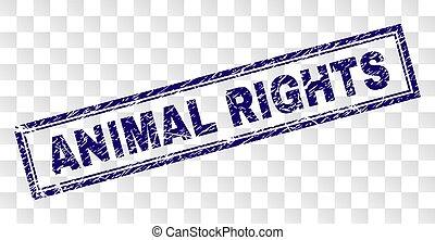 graffiato, francobollo, animale, rettangolo, diritti