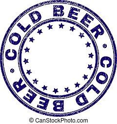graffiato, francobollo, sigillo, birra, textured, freddo, rotondo
