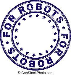graffiato, francobollo, sigillo, robot, textured, rotondo