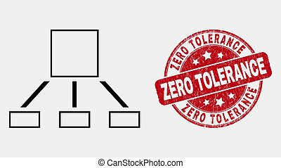 graffiato, gerarchia, francobollo, zero, vettore, sigillo, linea, tolleranza, icona