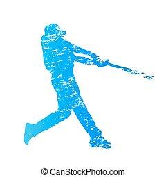 graffiato, giocatore, vettore, silhouette, baseball