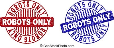 graffiato, grunge, francobolli, robot, soltanto, rotondo