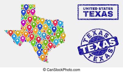graffiato, mappa, collage, puntatori, stato, francobolli, texas