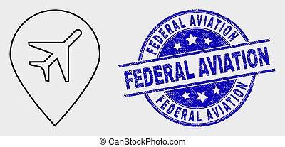 graffiato, mappa, federale, francobollo, aeroporto, vettore, pennarello, aviazione, contorno, icona