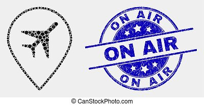 graffiato, mappa, francobollo, aria, aeroporto, vettore, sigillo, pennarello, puntino, icona
