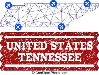 graffiato, mappa, maglia, aria, polygonal, stato, sigillo tennessee, biglietto, composizione
