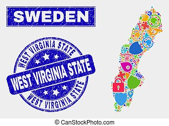graffiato, mappa, watermark, virginia ovest, stato, tecnologia, svezia, mosaico
