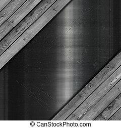 graffiato, metallo, legno, grunge, struttura