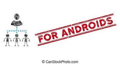 graffiato, mosaico, amministrare, androids, sigillo, linee