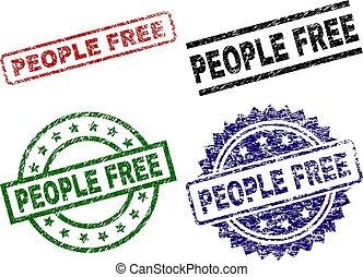 graffiato, persone, francobollo, libero, sigilli, textured