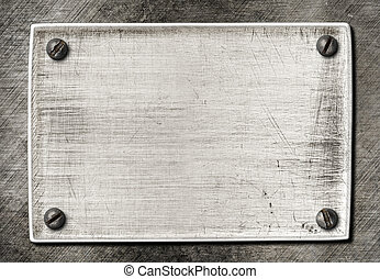 graffiato, piastra, vecchio, metallo, struttura, viti