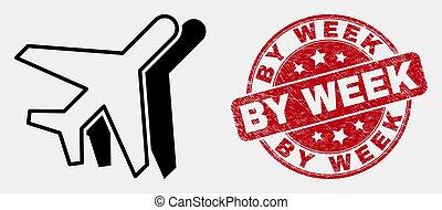 graffiato, settimana, lineare, francobollo, vettore, aviazione, icona