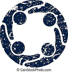 graffiato, stile, gruppo, persone, quattro, logotipo, icona