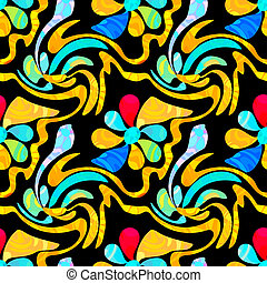 graffiti abstract flowers on a black background seamless pattern