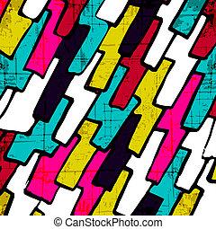 Graffiti abstract geometric pattern on a black background