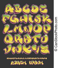 Graffiti alphabet- Hand written - Vector font