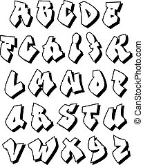 Alphabet Tag graffiti alphabet. set street type calligraphy design alphabet