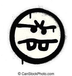 graffiti annoyed emoticon sprayed in black over white