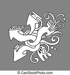 Graffiti art, abstract arrows illustration