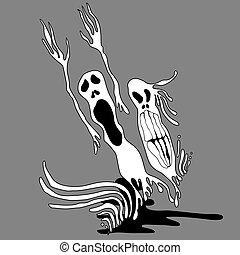 Graffiti art illustration. Ghosts