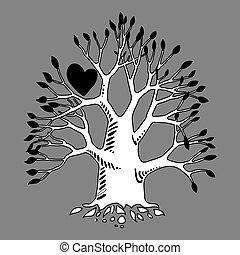Graffiti art illustration. Love tree design