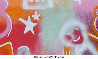 graffiti art mural , shapes and star