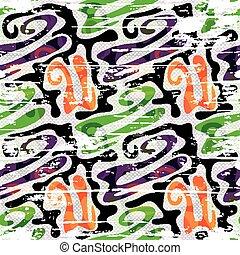 Graffiti bright seamless pattern on a white background vector illustration
