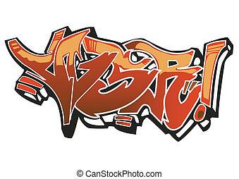 Graffiti art design on the white background. My own...
