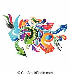 graffiti colored arrows on a white background vector illustration