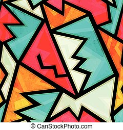 graffiti colorful geometric seamless pattern with grunge effect