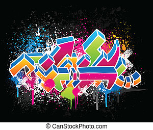 Graffiti design - Colorful graffiti sketch with grunge paint...