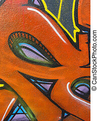 some detail of an abstract colored wall graffiti