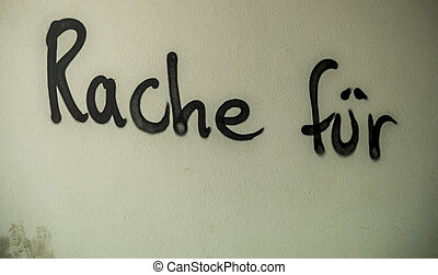 graffiti detention order on a house wall - the graffiti...