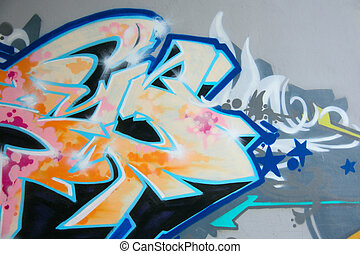 graffiti drawing on the smooth wall covered with a paint